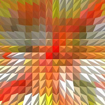 graphics 2d moderne werk in geel en rood symmetrisch compositie een rode piramide van Groothuizen Foto Art