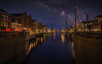 Delfshaven im Nacht von Mart Houtman