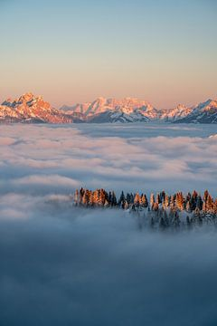 Zonsondergang boven de Zugspitze met een zee van mist van Leo Schindzielorz
