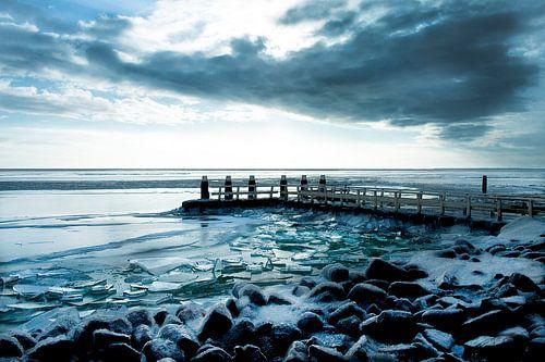Kruiend ijs  Afsluitdijk van