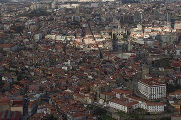luchtfoto van de straten van Porto