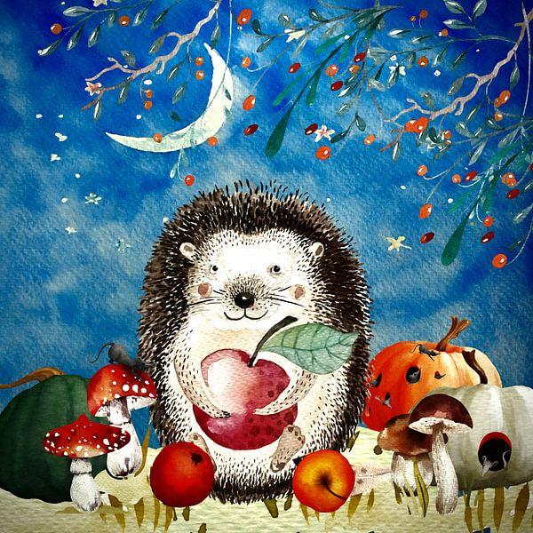 Nacht Illustration  Igel im Herbst von Uta Naumann