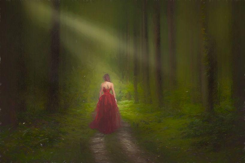 """Gemalte """"Dame in Rot"""" von Arjen Roos"""
