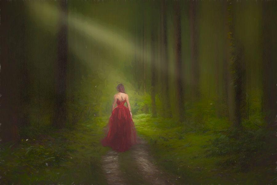 """Geschilderde """"Lady in Red"""" van Arjen Roos"""