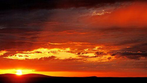 Sonnenuntergang Westteil Etosha-Nationalpark Namibia von