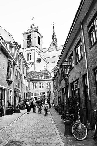 Pentekening Beschuitsteeg Leiden Nederland Tekening Lijntekening