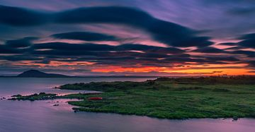 Zonsondergang Lake Myvatn, IJsland van Henk Meijer Photography