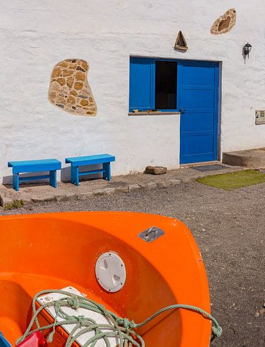 Een fel gekleurd straatje, Ajuy, Fuerteventura, Canary Islands, Spanje, van