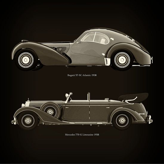 Bugatti 57-SC Atlantic 1938 en Mercedes 770-K Limousine 1938