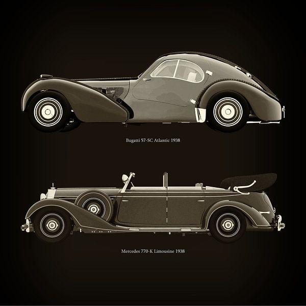 Bugatti 57-SC Atlantic 1938 und Mercedes 770-K Limousine 1938 von Jan Keteleer