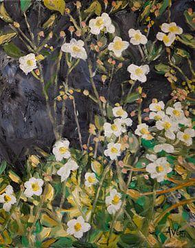 Herfst Anemonen van Antonie van Gelder Beeldend kunstenaar