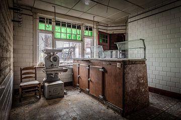 Verlaten slagerij winkel van
