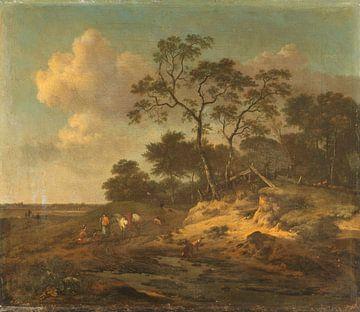 Dune Landscape with Hunters Resting, Jan Wijnants sur