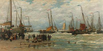 Fischen von Pinken in brechenden Wellen, Hendrik Willem Mesdag