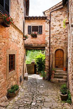 Mediterrane steegje - Montefioralle in Toscane