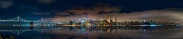 Nachtelijke skyline van San Francisco van Remco Piet
