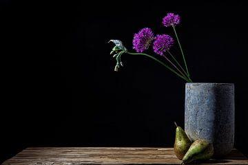 Stilleben von Allium (Zwiebelknollen) in Betonvase von ingrid schot