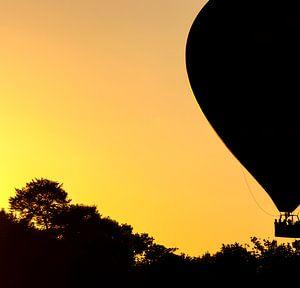 Air balloon at sunset