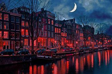 Stadtbild von Amsterdam mit Halbmond in den Niederlanden von Nisangha Masselink