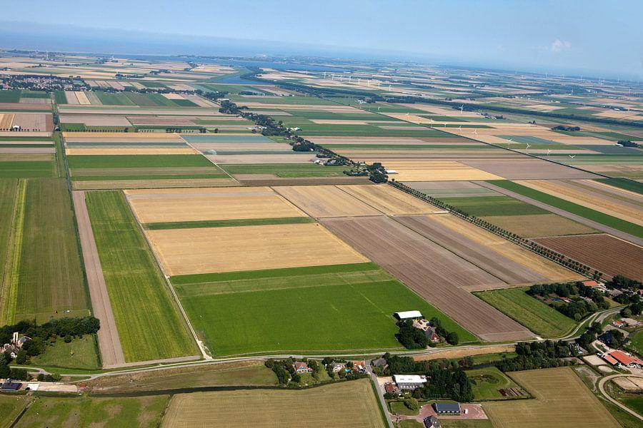 Luchtfoto kop Noord-holland richting de Waddenzee