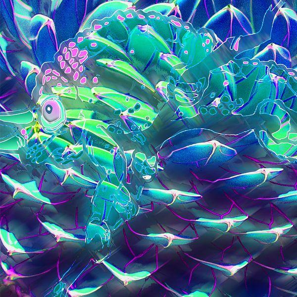 Digitale Arbeit mit einem Chamäleon von Ton Kuijpers