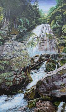 bossen, schilderijen,  Waterval, landscape. Wasserfall, Landschaft. Cascade, paysage. von sandra de jong