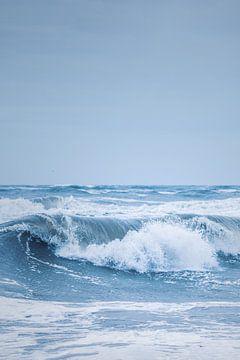 Grosse vague sur la côte de la mer du Nord sur Florian Kunde