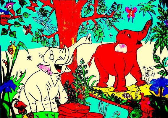 Tekening van olifanten.