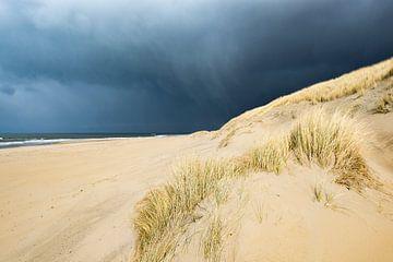 Nuages ??de tempête sur la plage avec des vagues et des dunes ensoleillées sur