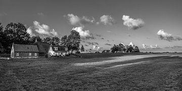 Abendlicht über den Häusern von Laaxum in Friesland von Harrie Muis