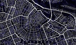Amsterdam Stadskern Stratenplan Zwart/Paars van