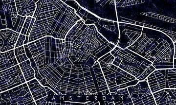 Amsterdam Stadskern Stratenplan Zwart/Paars van Maarten Knops