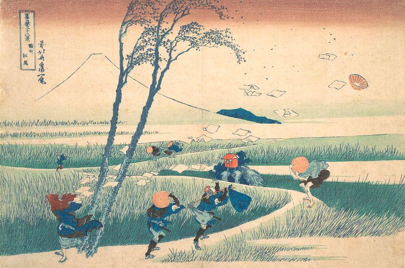Ejiri in der Provinz Suruga, Katsushika Hokusai von Meesterlijcke Meesters