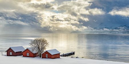 Norweger verschüttet auf dem Ufer von einem Fjord in Nordnorwegen im Winter