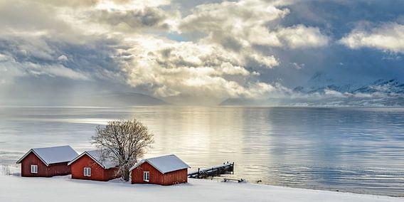 Typische Noorse vissershutjes aan de oever van het Malangen Fjord van Sjoerd van der Wal