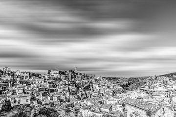 Matera-panorama in zwart en wit