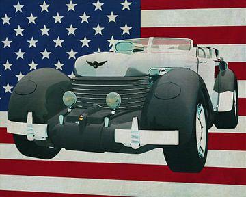 Cord 812 Lone Runner Concept 1936 met vlag van de V.S.