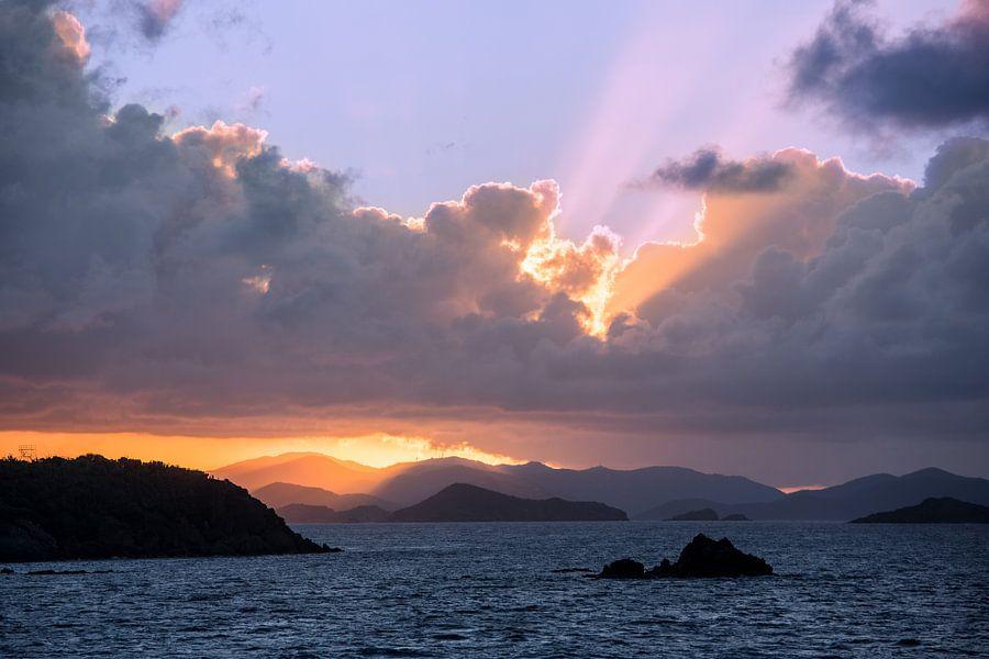 Zonsondergang bij de British Virgin Islands