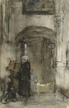 La femme d'un pêcheur avec sa fille comme'mariée' allume une bougie d'église, Jacob Maris.