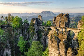 Die Basteibrücke im Morgenlicht von Michael Valjak