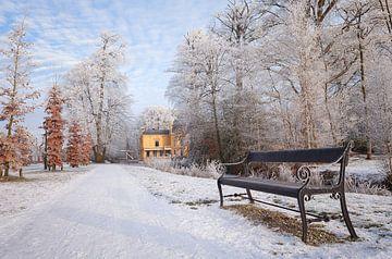 Borg Nienoord in de sneeuw Leek Groningen Nederland van R Smallenbroek