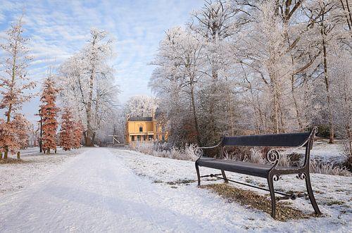 Borg Nienoord in de sneeuw Leek Groningen Nederland