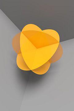 Abstracte gele bolbloesem op grijze achtergrond van Jörg Hausmann