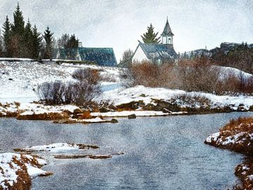 Kerkje in Þingvellir, IJsland van Frans Blok