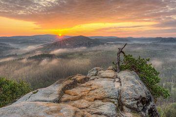 Sächsische Schweiz Sonnenaufgang von Michael Valjak
