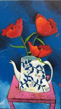 Stilleven met roze tafeltje van Eveline van Rooy