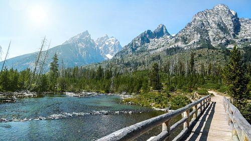 Houten brug in Grand Teton National Park Wyoming van Dimitri Verkuijl