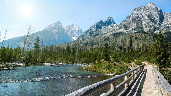 Houten brug in Grand Teton National Park Wyoming