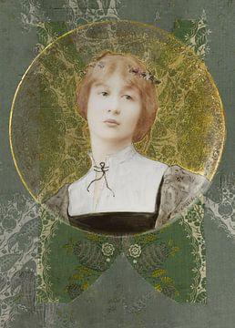 Vergoldete Frau auf Brokat von Affect Fotografie