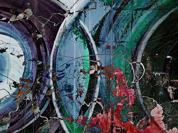Modernes, abstraktes digitales Kunstwerk in Blau, Violett, Rot, Schwarz von Art By Dominic